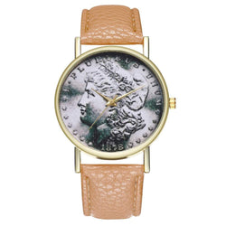 Zhou Lianfa Fashion Network Queen Figure Litchi Pattern Gold Quartz Watch