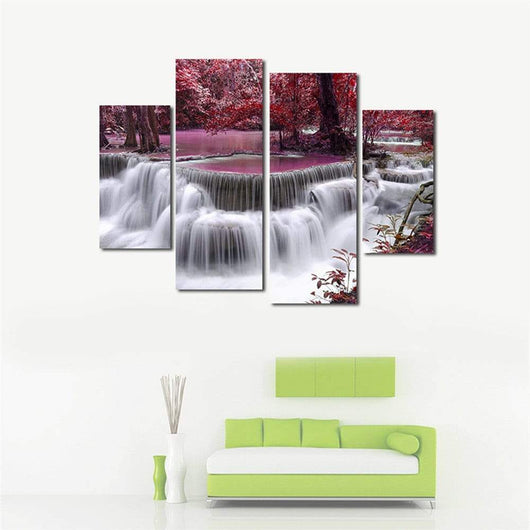 4PCS Maple Leaf Waterfall Home Decoration Canvas Painting
