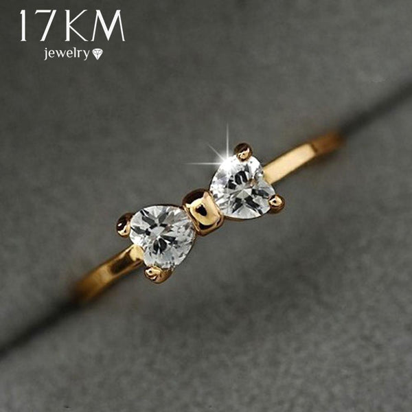 17KM Austria Crystal rings Gold Color finger Bow ring wedding engagement