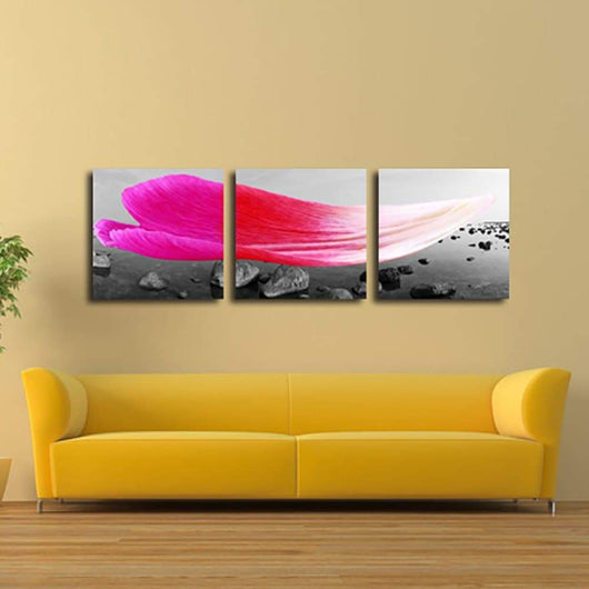 3 Panels Pink Petals Print Canvas Art Unframed