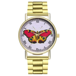 ZhouLianFa T114 Fashion Color Butterfly Pattern Steel Band Quartz Watch