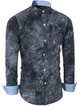 Abstract Tie-dye Patter One Pocket Shirt Collar