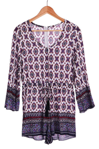 Ethnic Tribe Print Plunging Neck Long Sleeve Romper For Women