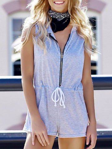 Casual Hooded Sleeveless Zippered Waist Drawstring Women's Romper