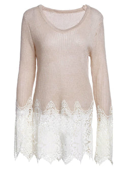 Chic Women's Lace Splicing Solid Color Long Sleeve Scoop Neck Pullover Sweater