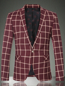 One Button Design Checked Blazer