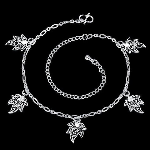 Stylish Solid Color Filigree Leaf Charm Anklet For Women