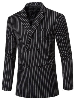 Striped Notched Lapel Blazer