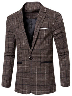 Vintage Slim Fit Notched Single Button Striped Blazer
