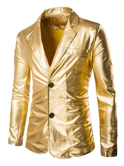 Single Breasted Men's Blazer Metallic Color