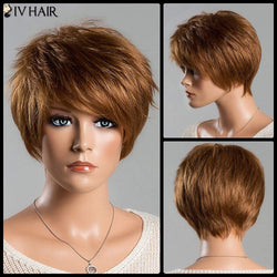Fashion Women's Short Fluffy Side Bang Auburn Brown Siv Human Hair Wig