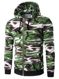 Camo Rib Spliced Men's Long Sleeve Hoodie