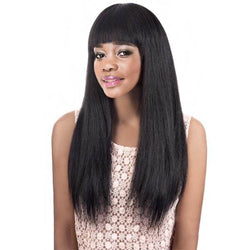 Graceful Women's Long Black Straight Full Bang Synthetic Wig