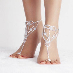 Heart Rhinestoned Anklets