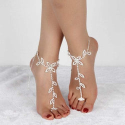 Pair of Rhinestoned Hollowed Leaf Anklets