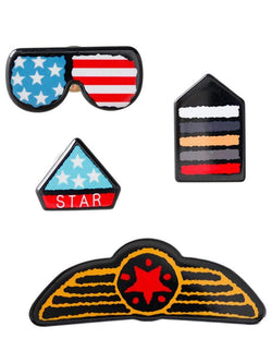 American Flag Glasses Star Badge Brooches