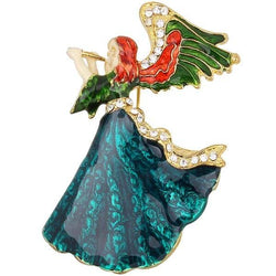 Resin Rhinestone Angel Brooch