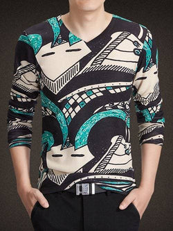 V-Neck Long Sleeve Geometric Print Knitting T-Shirt