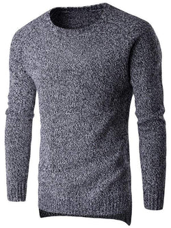 Round Neck Long Sleeve Knit Blends Sweater