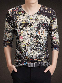 3D Face Print V-Neck Long Sleeve T-Shirt
