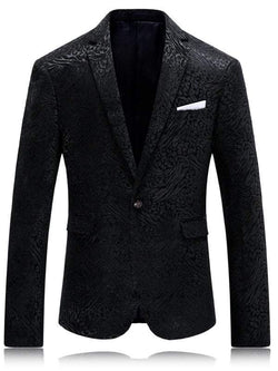 Flap Pocket Single Button Jacquard Blazer