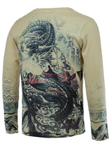 3D Dragon Print V-Neck Long Sleeve Sweater