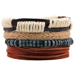 Wooden Beads Faux Leather Braid Bracelets