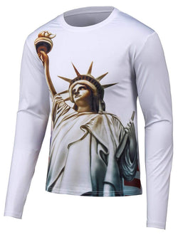 Long Sleeve Round Neck 3D Statue Print T-Shirt