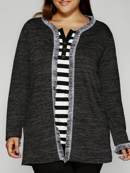 Fringed Embellished Heathered Knitted Cardigan