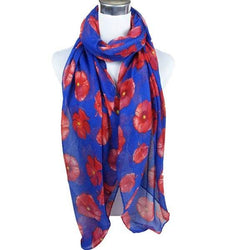 Casual Poppy Print Voile Scarf
