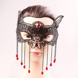 Waterdrop Tassels Cut Out Lace Half Face Masks