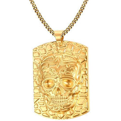 Skull Embossed Pendant Necklace