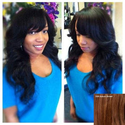 Long Wavy Side Bang Stunning Human Hair Capless Wig