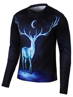 Long Sleeve Elk 3D Print Galaxy T-Shirt