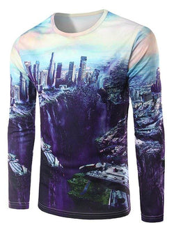 Crew Neck Long Sleeve 3D City Downthrow Print T-Shirt