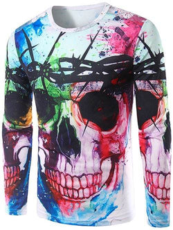 Long Sleeves Colorful Skull 3D Print T-Shirt