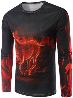 Long Sleeves Fire Horse 3D Print T-Shirt