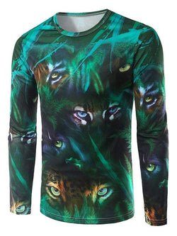 Long Sleeve Animal Eyes 3D Print T-Shirt