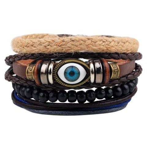 Evil Eye Faux Leather Braided Bracelets