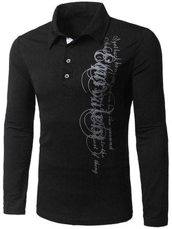 Turn-Down Collar Long Sleeve Polo T-Shirt
