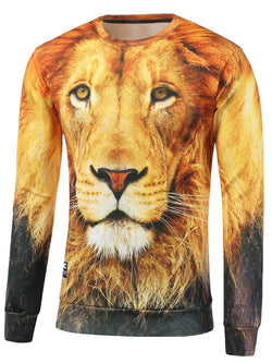 Crew Neck Lion Printed Sweatshirt