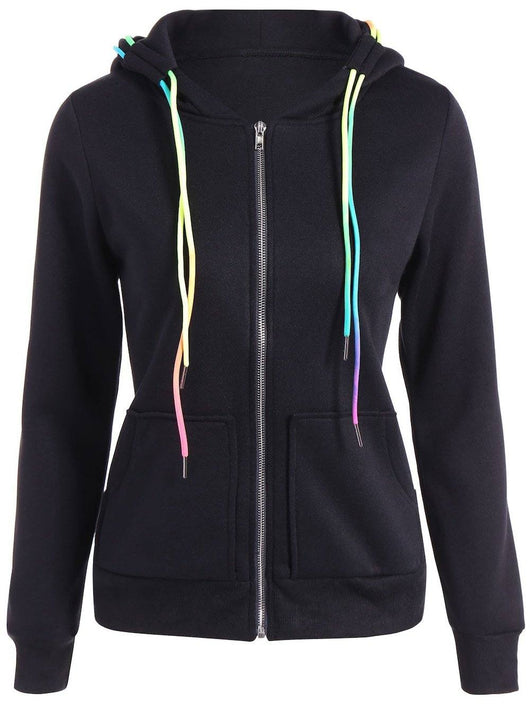 Autumn Colorful Drawstring Hoodie