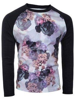 Spliced Sleeve Crew Neck Floral Print T-Shirt