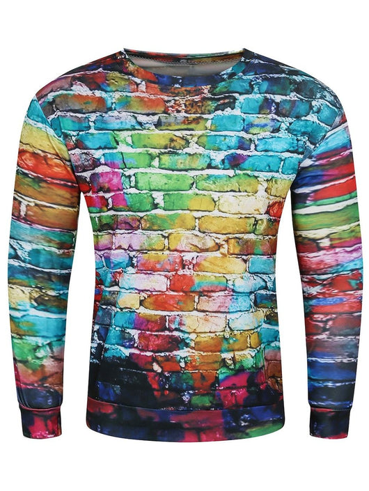 3D DOODLES WALL PRINTED LONG SLEEVE T-SHIRT