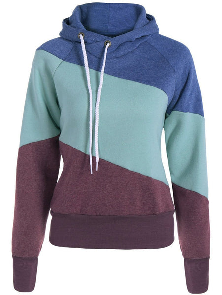 Casual Color Block Long Sleeves Women's Hoodie