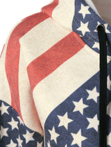 American Flag Distressed Drawstring Hoodie