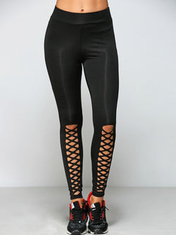 Casual Cut Out Criss-Cross Strappy Leggings