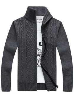 Stand Collar Zipper-Up Cable Knitted Cardigan