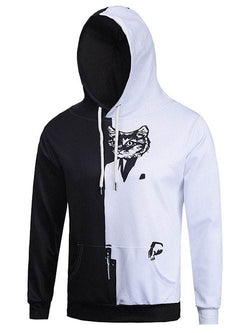 Color Block Spliced Cat Print Hoodie