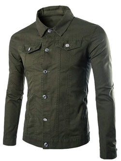 Pockets Front Button Up Plain Jacket